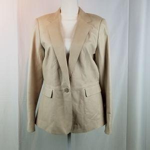 Lafayette 148 Beige Leather Jacket Blazer Size L